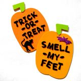 Trick or Treat. Foam pumpkins with trick or treat lettering Stock Photo
