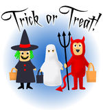 Trick or Treat!. Illustration of three children costumed for Halloween Trick or Treating vector illustration