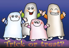Trick or treat?. Four funny ghost are saying: trick or treat? Digital illustration for Halloween royalty free illustration