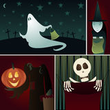 Trick or Treat. A silly, spooky montage of Halloween Trick-or-Treaters... a Ghost, a Witch, a headless Pumpkin Man and a Skeleton all begging for candy royalty free illustration