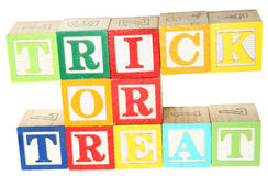 Trick Or Treat in Alphabet Blocks Royalty Free Stock Photography