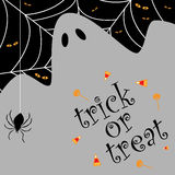 Trick or treat background. For Halloween with a spider web and a ghost.EPS available stock illustration