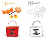 Trick or treat bag and candies. Colorful sketch with trick or treat bag and halloween candies. The black and white sketch is useful for coloring book pages for royalty free illustration