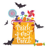Trick-or-treat. Bag full of candies. Halloween vector poster Royalty Free Stock Photos