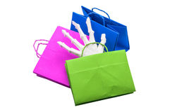 Trick-or-treat bags. Bone hand in Trick-or-treat bags Royalty Free Stock Photos