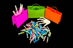 Trick-or-treat bags with candy. Halloween day,Trick-or-treat bags with candy Royalty Free Stock Image