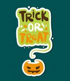 Trick or treat. Bright vector illustration for Happy Halloween. Pumpkin. Holiday. Royalty Free Stock Image