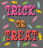 Trick or treat with candies poster. Trick or treat letter with colorful candies Royalty Free Stock Photos