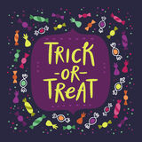 Trick or treat candy card royalty free illustration