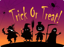 Trick or treat. Card with silhouettes of four cute Halloween costumed characters: Pirate, Witch, Great Pumpkin and Grim Reaper stock illustration