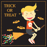 Trick or Treat Cartoon Illustration of Halloween Theme Royalty Free Stock Photos