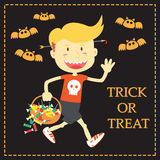 Trick or Treat Cartoon Illustration of Halloween Theme Royalty Free Stock Image