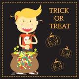 Trick or Treat Cartoon Illustration of Halloween Theme Stock Image