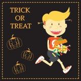 Trick or Treat Cartoon Illustration of Halloween Theme Stock Images