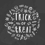 Trick or treat. Chalk illustration. royalty free illustration