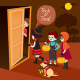 Trick Or Treat, Children And Man Open Door Royalty Free Stock Photography