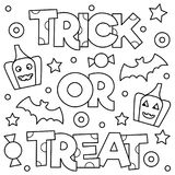 Trick or treat. Coloring page. Vector illustration. Trick or treat. Coloring page. Black and white vector illustration Stock Image