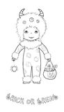 Trick or treat coloring page with cute monster Stock Image