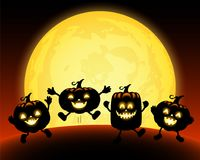 Cute cartoon pumpkin character in the moonlight. Trick or Treat concept, Happy Halloween day. Funny illustration Stock Photos