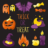 Trick or treat elements set. Trick or treat elements vector Halloween set Stock Photography