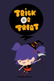 Trick or treat font poster design with cute girl dress as witch Stock Photos