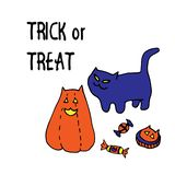 Trick or treat. Funny and cute halloween vector greeting with cute witch`s cat, big smiling cut out butternut squash cat royalty free illustration