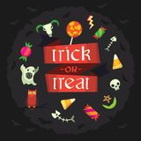 Halloween poster with trick or treat ribbon vector illustration