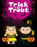 Trick or treat Halloween background with kids royalty free illustration