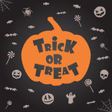 Trick or treat halloween background. Vector template for design. Stock Image