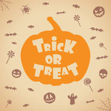 Trick or treat halloween background. Vector template for design. Stock Images