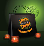 Trick or Treat Halloween bag with green moon Stock Photos