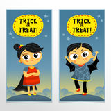Trick or treat Halloween banners with boy and girl in cute carni Stock Photo