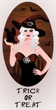 Trick or Treat Halloween card Blonde witch and bat Stock Photography