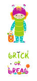 Trick or treat halloween card with cute monster Royalty Free Stock Photography