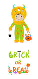 Trick or treat halloween card with cute monster Royalty Free Stock Photos