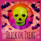 Trick or Treat Halloween card with green 3d skull and flying bats Royalty Free Stock Images