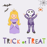 Trick or treat Halloween card with two kids Royalty Free Stock Images
