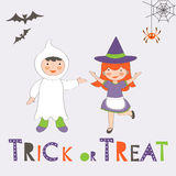 Trick or treat Halloween card with two kids Stock Photography