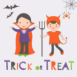 Trick or treat Halloween card with two kids Stock Image
