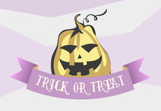 Trick or treat halloween cartoon style image. Comic pumpkin with ribbon. Vector illustration for banner, poster, invitation card, Royalty Free Stock Photography