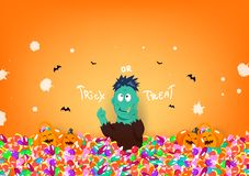 Trick or treat, halloween day, zombie monster, candy and cute pumpkin, celebration festival cartoon character, liquid splash royalty free illustration