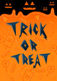 Trick or Treat Halloween font with candy Royalty Free Stock Photos