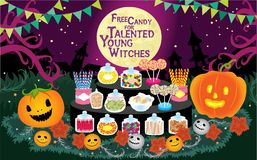 Trick or Treat Halloween Free Candy for Talented Young Witches Vector Illustration. For any purpose such as cover book and illustration book, print on banner royalty free illustration