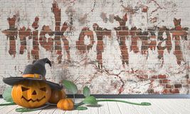 Trick or treat. Halloween greeting with Jack O Lantern pumpkin  Stock Images