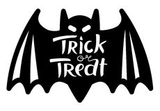 Trick or treat Halloween lettering composition with bat Royalty Free Stock Image