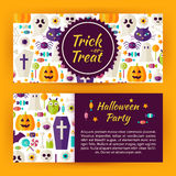 Trick or Treat Halloween Party Flat Style Vector Template Banner Stock Photography