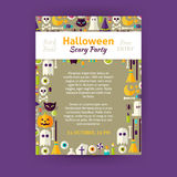 Trick or Treat Halloween Party Invitation Vector Template Flyer Royalty Free Stock Images
