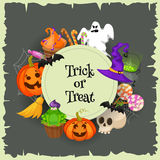 Trick or treat. Halloween poster background card. Vector illustration. Royalty Free Stock Photography