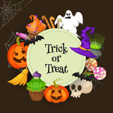Trick or treat. Halloween poster background card. Vector illustration. Stock Images