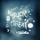Trick Or Treat?. Trick or Treat Halloween poster design with hand drawn elements vector illustration